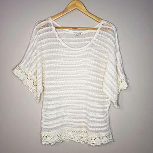 Double Zero Short Sleeve Sheer Lace Boho Large Top